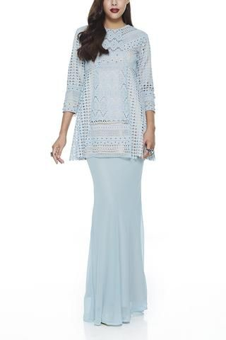 MODERN BAJU KURUNG | BLUE HALBA -  3 DIFFERENT LACE CROCHET PANELLING AND SUPER FLATTERING CHIFFON BIAS SKIRT (TURQUOISE) BY EMEL BY MELINDA LOOI