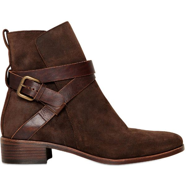 SEE BY CHLOE' 30mm Leather Ankle Boots ($237) ❤ liked on Polyvore featuring shoes, boots, ankle booties, botas, ankle boots, sapatos, brown, low heel booties, brown leather bootie and brown ankle boots