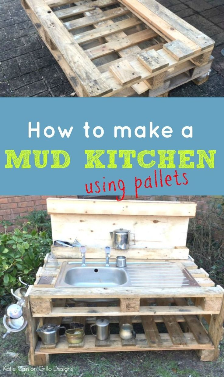 Katie shares how to make a mud kitchen for the kids using pallets!
