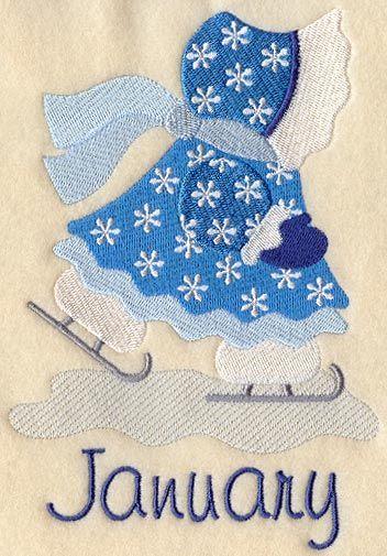 Sunbonnet Sue - January. на самом деле шаблоны машинной вышивки, но забавные картинки. есть весь календарь