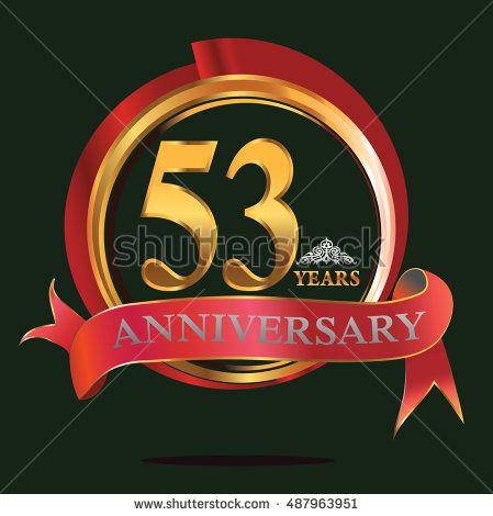 53 years golden anniversary logo with big red and gold ring. anniversary logo for birthday, celebration, wedding and party