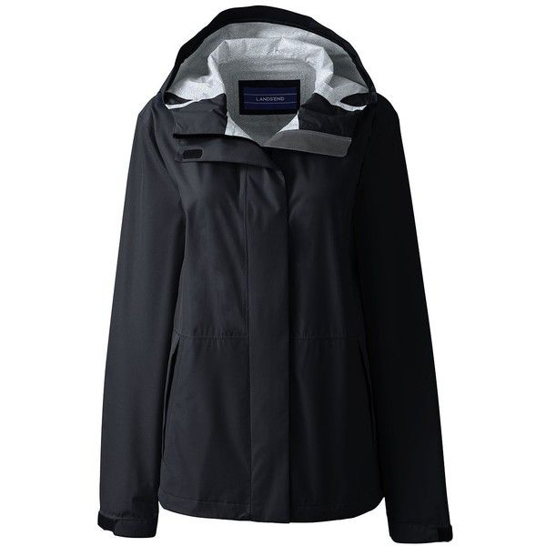 Lands' End Women's Petite Waterproof Rain Jacket ($89) ❤ liked on Polyvore featuring black and lands' end