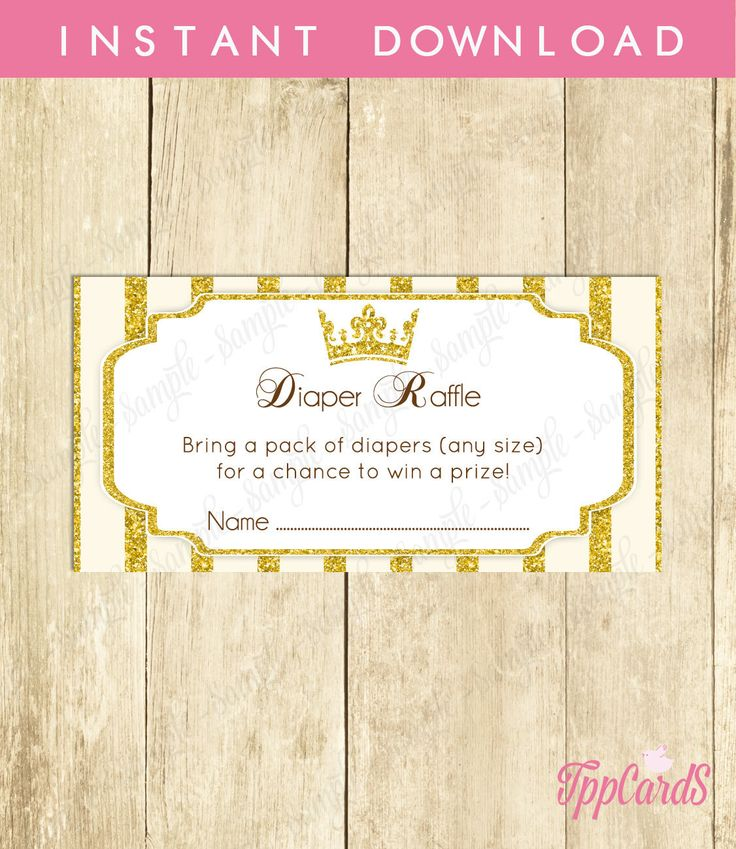 New to TppCardS on Etsy: Instant Download Gold Royal Princess Baby Shower Diaper Raffle Cards Printable Prince Diaper Prize Drawing Crown Theme Baby Shower (2.00 EUR)