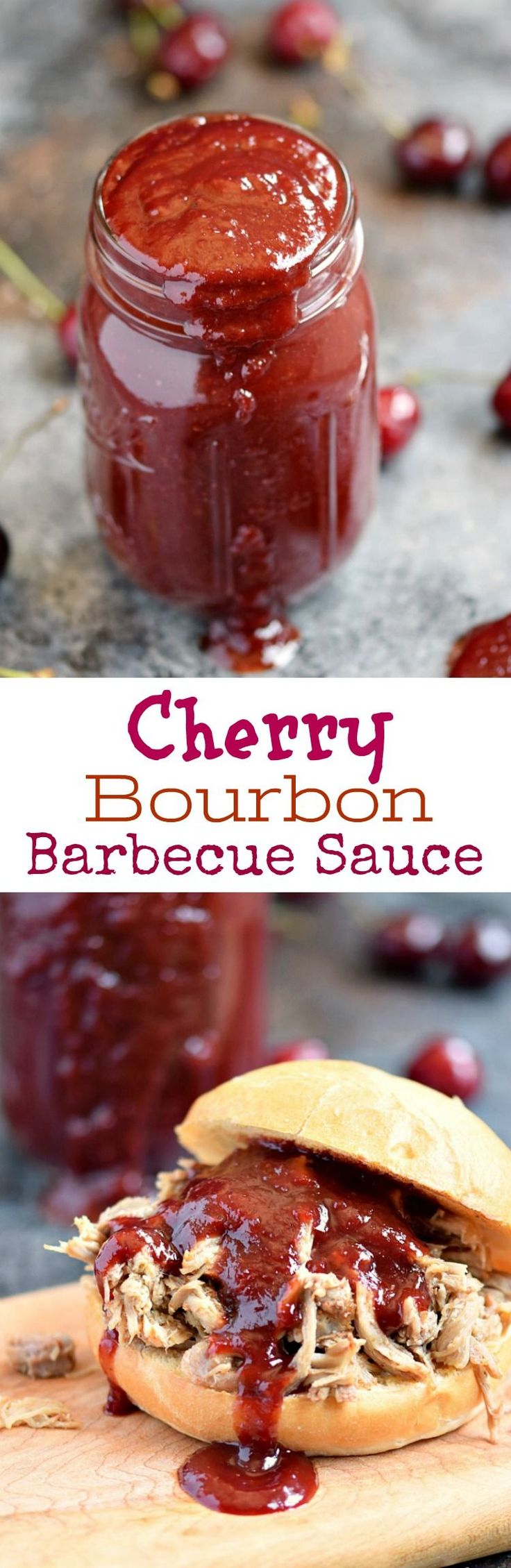 Cherry Bourbon Barbecue Sauce is the perfect combination of sweet, tangy, and slightly spicy to top your chicken, pork, or anything else you choose to throw on the grill | cookingwithcurls.com