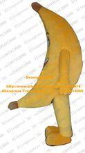 Smart jaune banane Mascotte Costume Mascotte Pisang Banannas adulte avec grand plié corps visage souriant parti Costume n ° 4641 navire gratuit(China (Mainland))