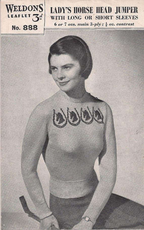 "Weldons Knitting Pattern - Lady's Horse Head Jumper - Leaflet No 888 - Vintage Size 34"" - 36"" Bust # 24 on Etsy, $16.27"