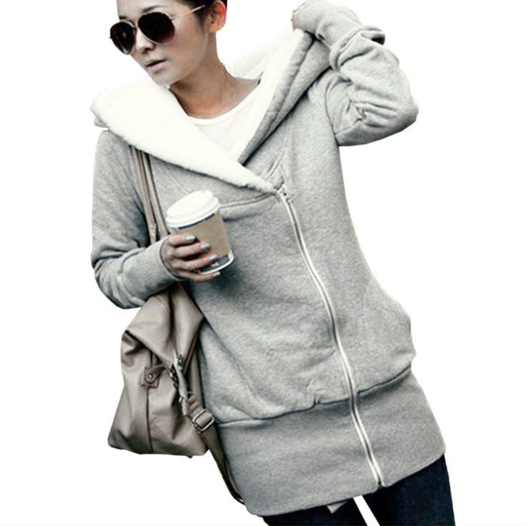 Zanzea 2017 jesień zima ciepłe zipper up kobiety bluzy bluzy z kapturem bluzy moda casual długi rękaw z kapturem slim płaszcze kurtki znosić