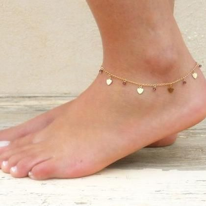 Heart Charms And Beads Anklet