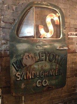 Vintage truck door wall art light. eclectic artwork