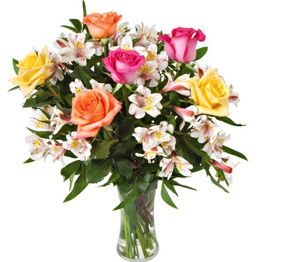 NEW! Crescendo of Roses Bouquet with Peruvian Lilies with Vase - White Flower Farm