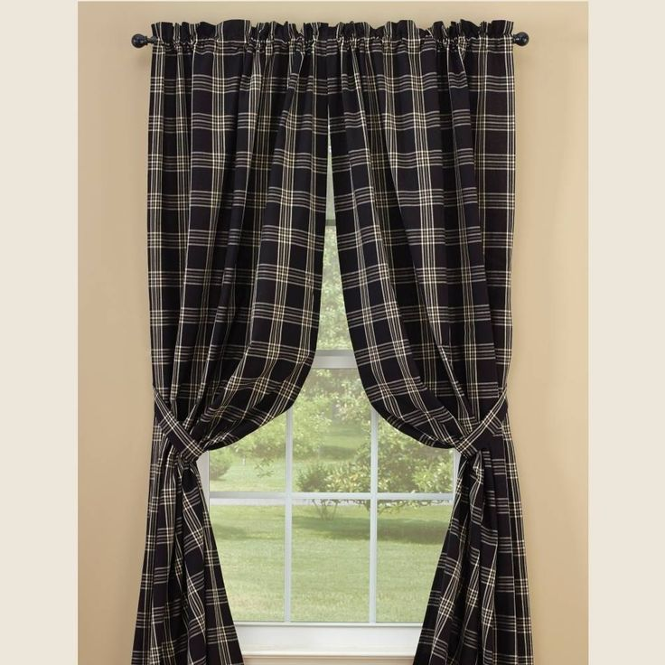 "Black Coffee Lined Panels measures 72""W x 63""L. 100% cotton; lined. Dry cleaning recommended to prevent shrinkage. Matching tiebacks included. Coordinating window treatments are available. #country #panel #curtains"