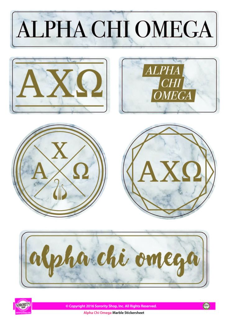Alpha Chi Omega Sorority Stickers- Marble - Brothers and Sisters' Greek Store