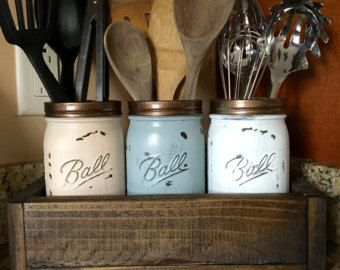 Portautensili di Mason jar, titolare di utensili da cucina, cucina organizer, barattolo cucina storage