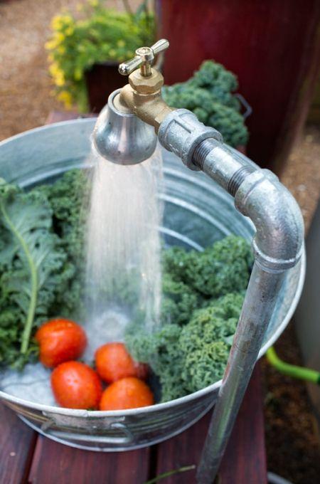 Outdoor sink faucet running into tub. DIY.