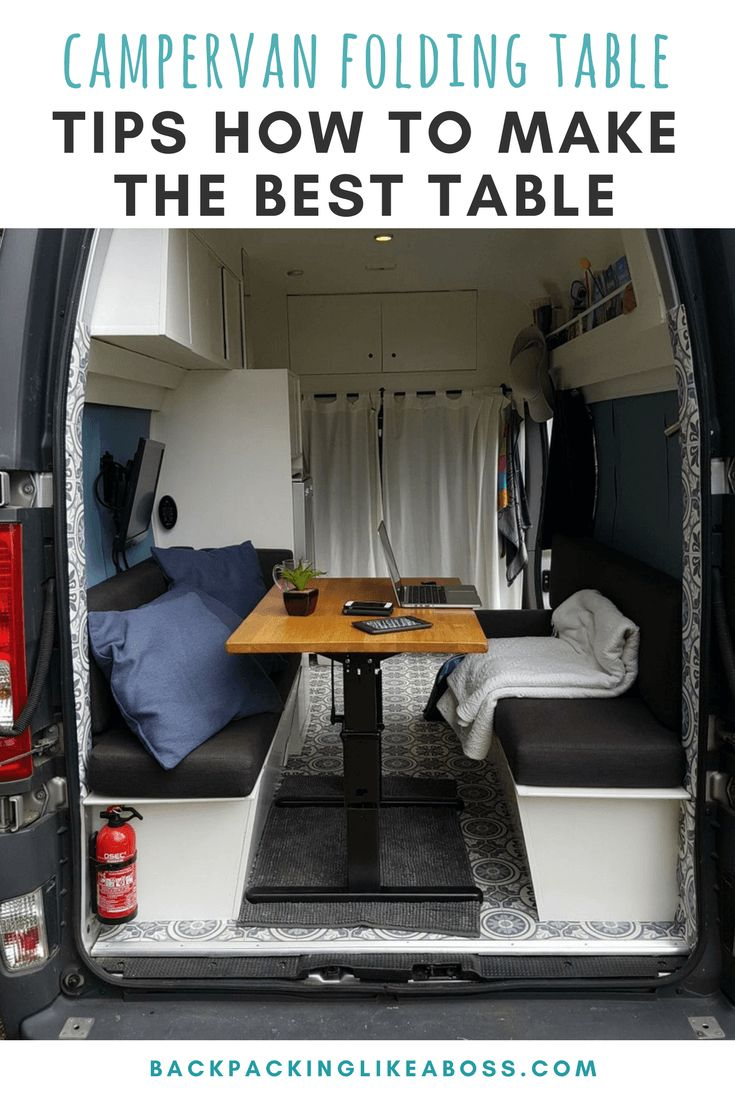 How to build a foldable table for in your campervan? Check out this blog for tips & tricks how to use a foldable table in your campervan conversion. Where to source the table top and folding frame? Step by step guide how to build your own folding table for your campervan   Campervan table   Campervan design   Interior campervan fittings   #campervan #vanlife #foldingtable