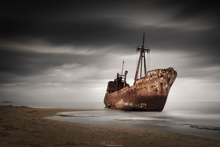 Abandoned shipwreck at Gythio-Greece