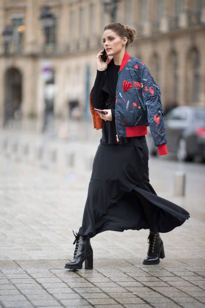 Olivia Palermo during the Haute Couture Spring/Summer 2018 in the streets of Paris on January 22 2018 in Paris France