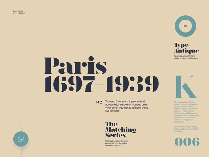 """Hi all,  Just finished the 3rd round of Type & Color series. A featured typeface for this round is Ravensara Antiqua, a display font family with 9 weights.  """"Type&Color""""— it's self-initiate..."""