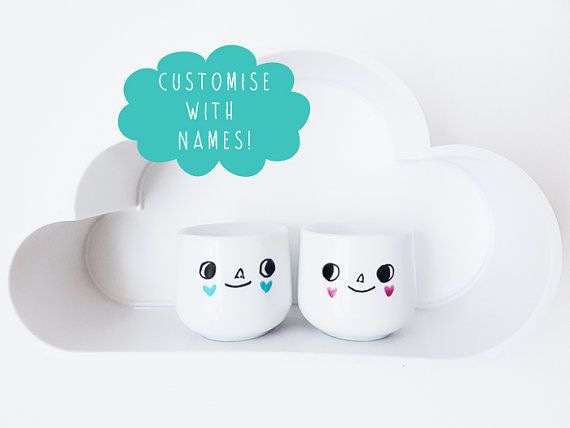 Personalised wedding or Valentine's Day gift - custom egg cups of the happy couple with names on the back in ribbon banners!