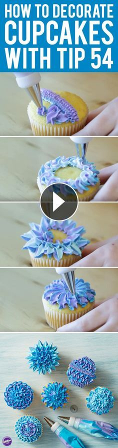 Decorating Tutorial - Learn 6 ways to decorate cupcakes using Wilton Tip 54! A unique tip that allows for great texture and motion in your icing design, decorating tip 54 is great for piping textured pull-out stars, fun zig-zags and lovely rosettes. Mix icing colors in one bag to get this neat color effect!