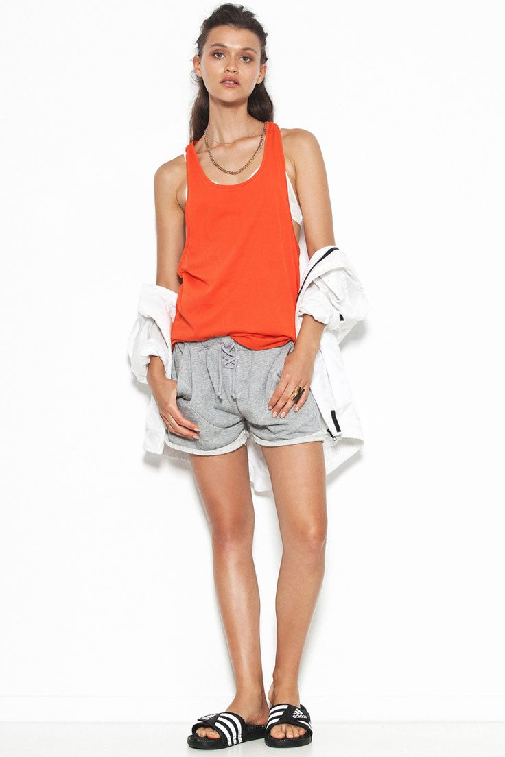 First Base - Super Dropped Armhole Tank Blood Orange