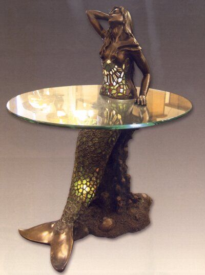 Mermaid table and lamp mermaid stained glass pinterest mermaids lamps and image search Mermaid coffee table
