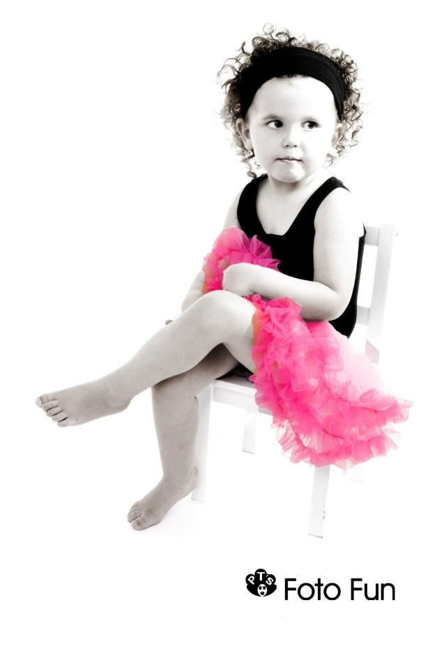 Ballerina girl in Black & White with pink tutu