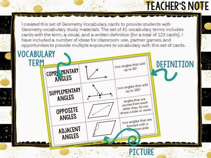 41 Geometry Vocabulary Terms aligned to 3rd-5th grade common core. Terms, a visual, and a written definition are included (for a total of 123 cards). This set of Geometry Vocabulary cards can be used to provide students with multiple exposures to vocabulary terms and to offer them a study strategy for Geometry units and state assessments. I have included creative and fun ways for students to play with these cards and engage with the vocabulary terms.