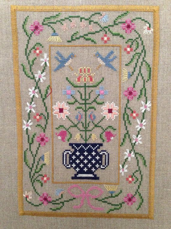 Vase and Flowers Unframed Cross Stitch by backporchquilts on Etsy