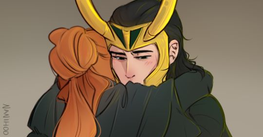 Sigyn hugging Loki wonderfully done by Nanihoosartblog - I was trying to come up with a witty response to all the asks I've gotten about what Sigyn would think of the new Thor trailer  but then I realized she'd just be happy to see him alive again. This is goodby :,( :.(