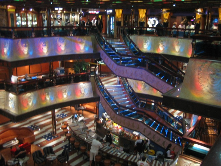 Beautiful Carnival Cruise Line cruise ship atrium.   Great place for photos