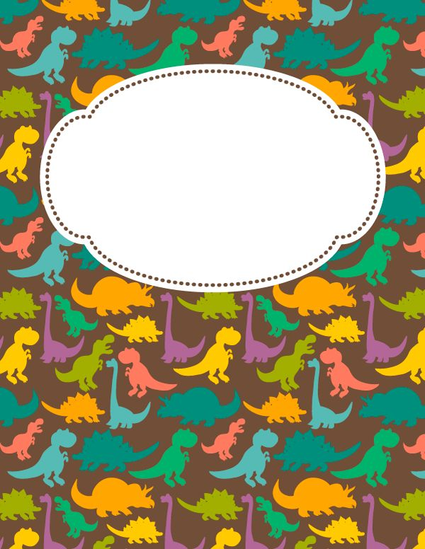 Free printable dinosaur binder cover template. Download the cover in JPG or PDF format at http://bindercovers.net/download/dinosaur-binder-cover/