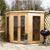 7 x 7 Premier Wooden Corner Garden Summerhouse (12mm Tongue and Groove Floor and Roof)  48HR  SAT Delivery