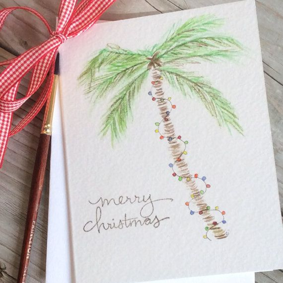 Palm tree Christmas card; Beach Holiday greeting card; Watercolor palm tree/Christmas lights; Vacation Christmas card, Tropical Holiday card