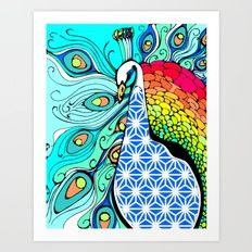 Gypsy Peacock Giclée art print by Kerise Delcoure. This colourful peacock illustration was hand-drawn and digitally painted to include a spectrum of colours and patterns. Available at https://society6.com/kerisedelcoure and https://www.redbubble.com/people/kerisedelcoure.