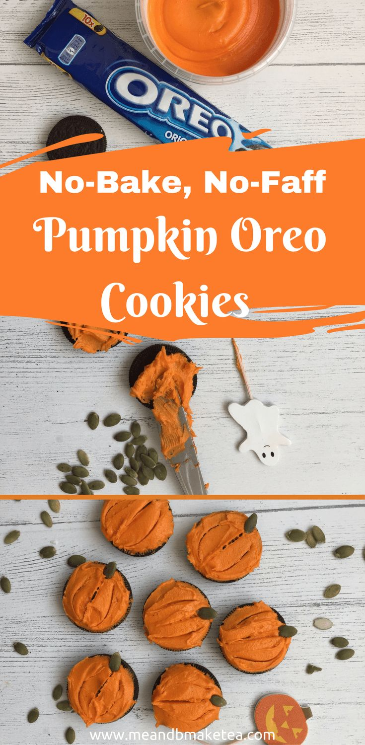 Ten Minute, No-Bake, No-Faff Pumpkin Oreo Cookies! These are so easy and super cute to make this fall and Halloween!