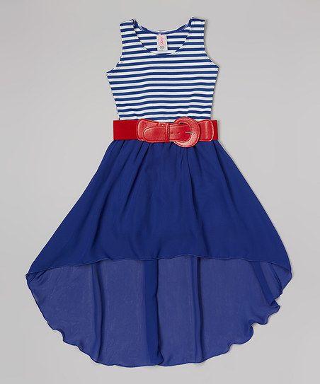 Royal Stripe Hi-Low Belted Dress