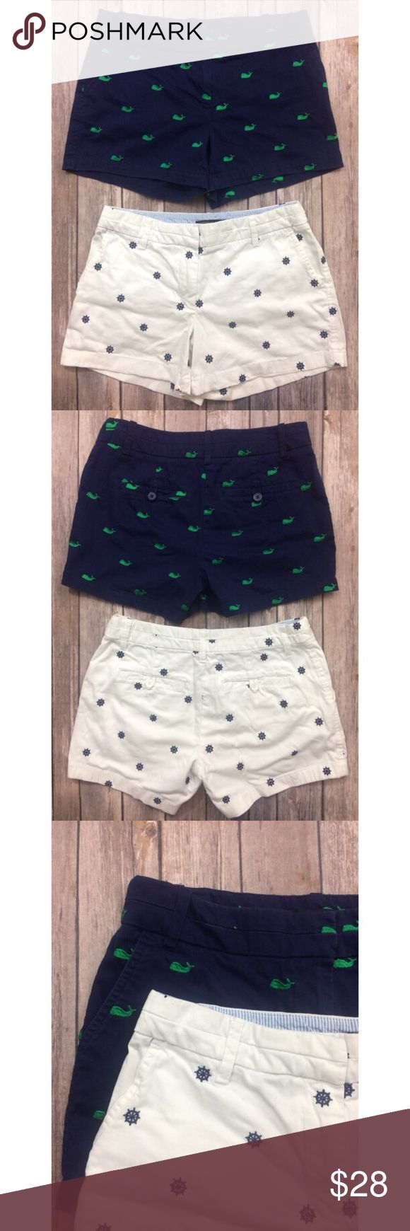 Bundle! Navy & White Embroidered Nautical Shorts Two pairs of nautical themed shorts from the brand British Khaki in size 2. One is navy blue with embroidered green whales and the other is white with embroidered navy blue ship wheels. Very good condition. Please comment with questions or requests for measurements :) British Khaki Shorts