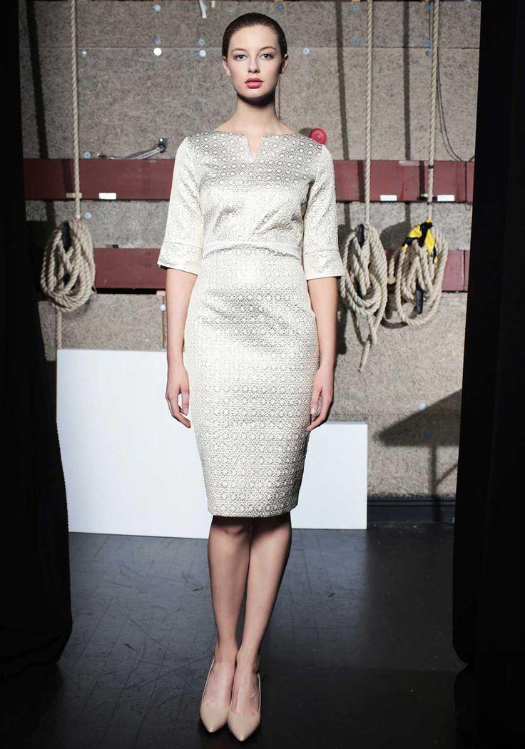 Caroline Kilkenny Noot Metallic Floral Print Pencil Dress, Gold