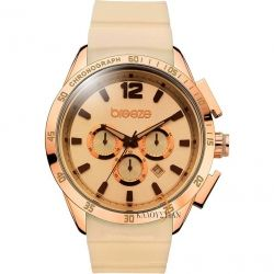 BREEZE Popsicles Chrono Rose Gold Beige Rubber Strap
