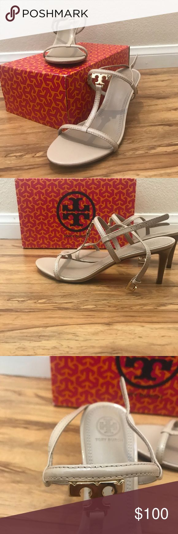 TORY BURCH Nude Heeled Sandal Nude TB kitten heel sandals. Worn once and in perfect condition. Tory Burch Shoes Sandals