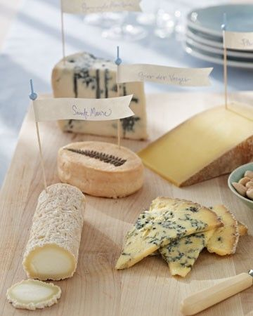 Cocktail Hour: Cheese Table with flag labels