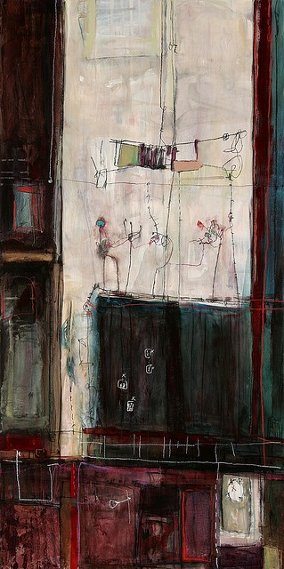 """anne-laure djaballah - home, interior   acrylic on panel 48x12"""" 2005 Art & Style By Adolfo Vasquez Rocca D.Phil Colecction"""