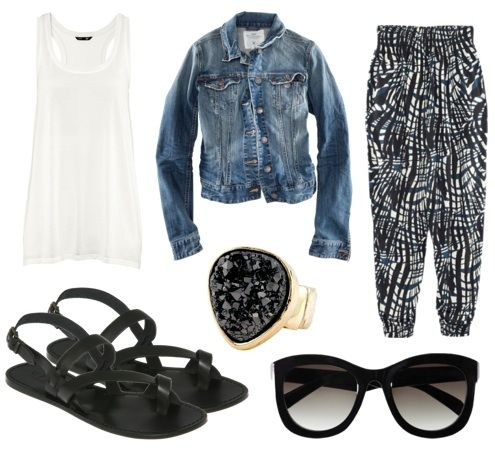 Denim Jacket + White Tank + B Print Harem Pants + Black Sandals + Black Accessories