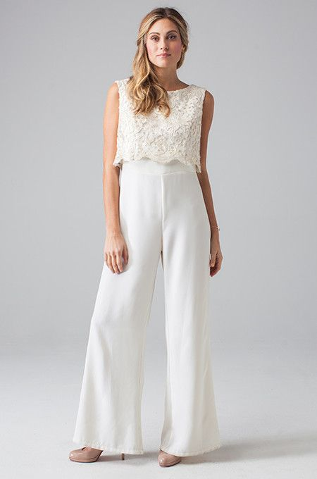 Trendy Wedding Ideas: Jumpsuits, pants, shorts, and crop tops are all the rage for 2015! Make sure to be on trend with the Aria Jumpsuit by Eva for Loverly and check out other similar styles.  via Loverly