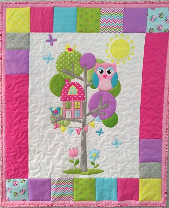 Owl-tree-house-baby-quilt