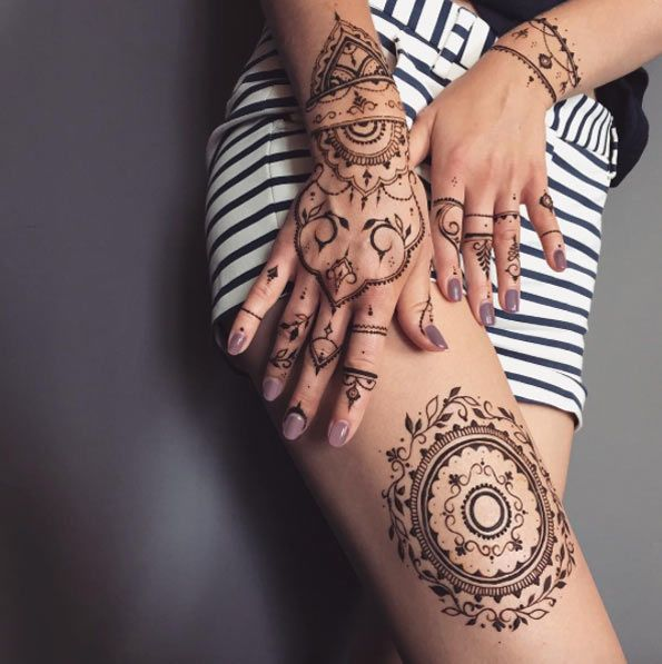 Hand and Thigh Mehndi Designs by Veronica Krasovska