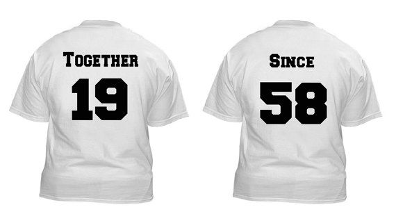 Together since anniversary shirt for couples with wedding date and year on Etsy, $25.00
