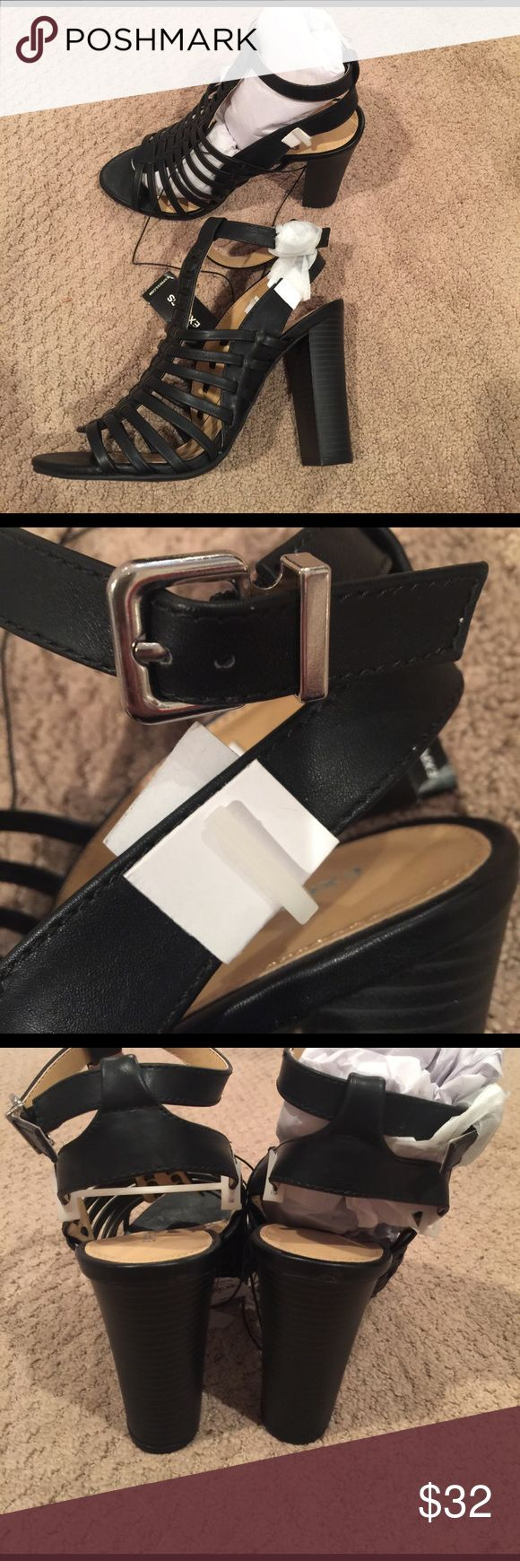 "NWT Express black stacked heel caged sandal Never worn.  Purchased wrong size. Approx 4.5"" heel. Ship immediately. Purchased MARCH 2017 Express Shoes Heels"