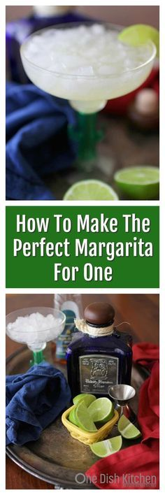 How To Make The Perfect Margarita –a simple margarita recipemade with tequila, lime juice, agave nectar and a splash of water. Thisskinny margaritais easy to make and so refreshing! Lower in carbs, calories and sugar than traditional margaritas. | One Dish Kitchen #margarita #cincodemayo #forone #single #tequila